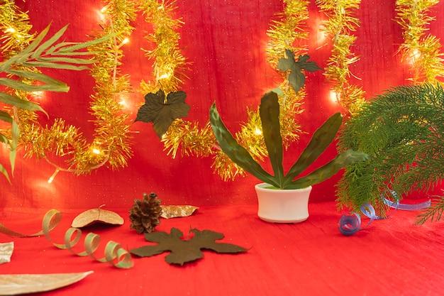 제품을 표시하는 미니멀리즘 개념 아이디어. 크리스마스와 새해 배경