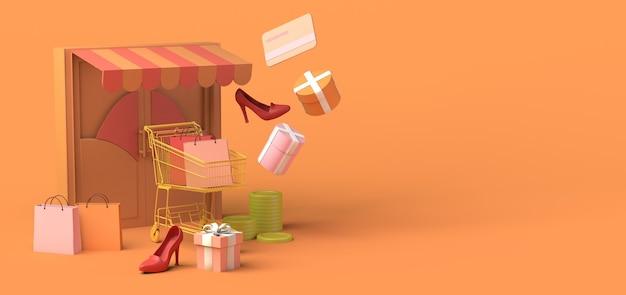 온라인 상점의 미니멀리즘 개념 복사 공간 3d 그림 온라인 쇼핑