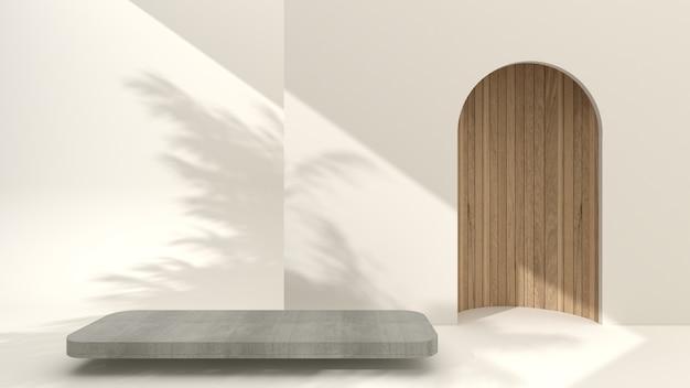 크림 배경의 미니멀한 콘크리트 연단, 3d 렌더링, 3d 그림