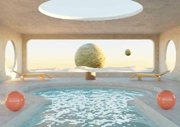 砂漠の惑星にプール付きのミニマリストのコンクリートの部屋。未来的な建築。 3dレンダリング
