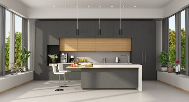 Minimalist concrete and wooden kitchen with island and large window