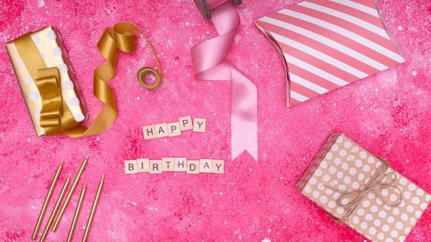Minimalist decoration of birthday items