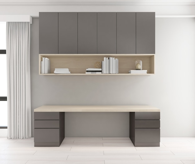 붙박이장과 회색 벽, 나무 바닥이 있는 미니멀한 책상. 3d 렌더링