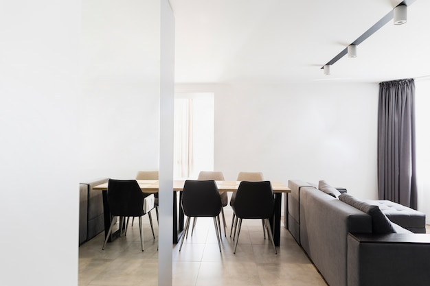 Minimalist dining and living room design