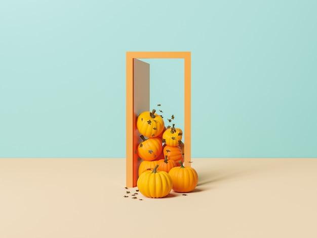 Минималистичная дверь с тыквами и осенними листьями, входящими в концепцию начала осени. 3d рендеринг