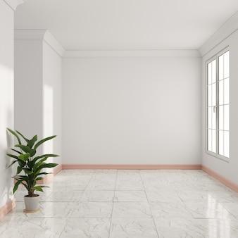 미니멀리스트 빈 3d 렌더링 interiorwith 대리석 바닥 및 식물