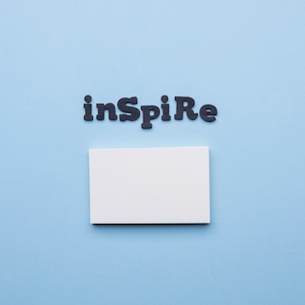Minimalist empty business card and inspire word
