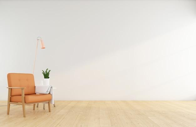 흰색 벽 3d 렌더링에 주황색 안락의자가 있는 미니멀한 빈 방