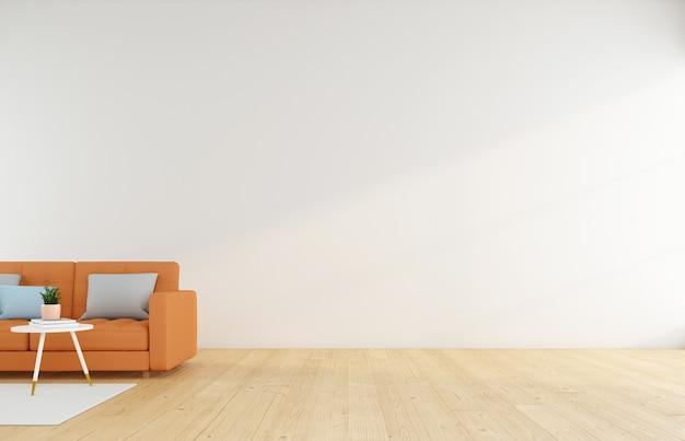 흰색 벽 3d 렌더링에 주황색 소파가 있는 미니멀한 빈 방