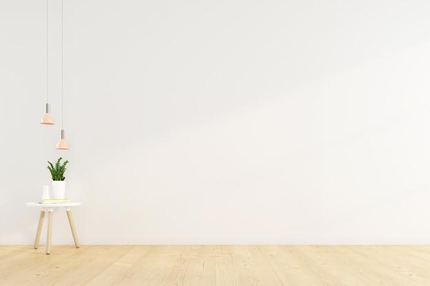 흰색 벽에 사이드 테이블과 매달려 있는 램프가 있는 미니멀한 빈 방입니다. 3d 렌더링