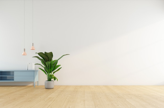 흰색 벽 3d 렌더링에 사이드보드가 있는 미니멀한 빈 방