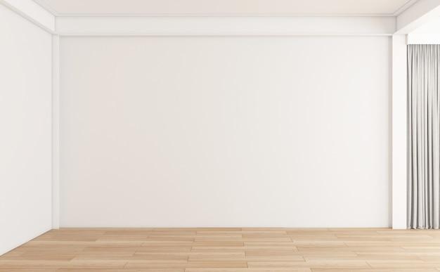 나무 바닥과 흰색 벽이 있는 미니멀한 빈 방입니다. 3d 렌더링