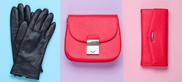 미니멀리스트 패션. 여성의 트렌디 한 액세서리. 가죽 지갑, 가방, 장갑. 평면도