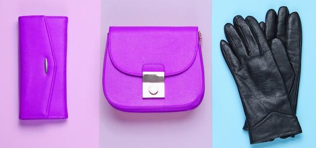 ミニマリストファッション。パステルカラーの背景に女性の流行のアクセサリー。革製の財布、バッグ、手袋。上面図