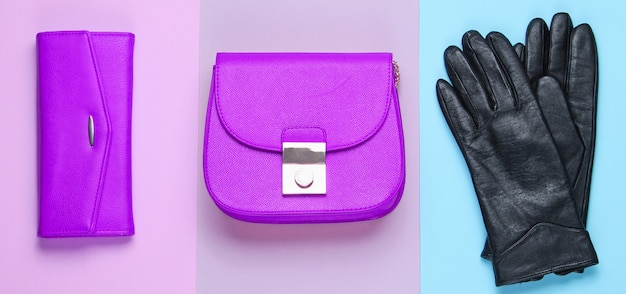 Minimalist fashion. women's trendy accessories on a pastel background. leather purse, bag, gloves. top view