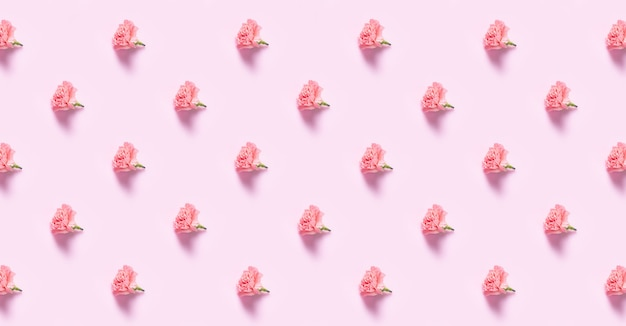 Minimalist flat lay with carnation flowers for mother's day, valentines day background design concep, pattern background