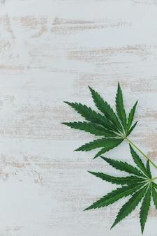 대마초 잎 미니멀리스트 프레임. 복사 공간 흰색 나무 배경에 마리화나와 배경