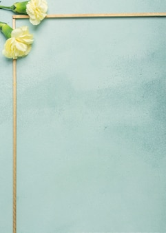 Minimalist frame with carnation flowers on blue background