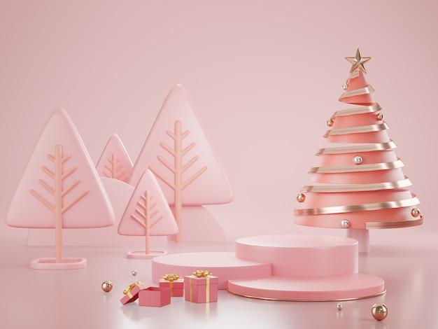 Minimalist geometric shape scene. 3d rendering. christmas themes.