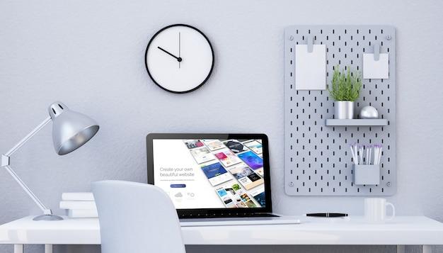 Студия минималистского графического дизайна с ноутбуком, покупая веб-дизайн, 3d-рендеринг