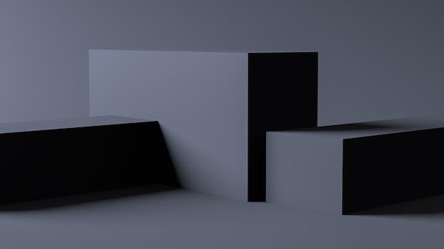 Минималистская сцена в форме серой коробки