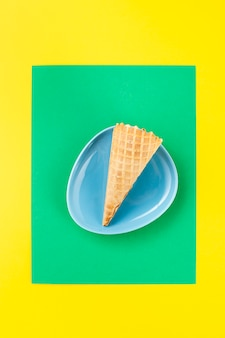 Minimalist ice cream cone in a plate