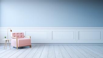 Minimalist interior design,light pink armchair with gold lamp