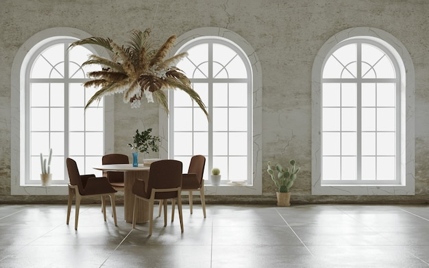 Minimalist interior design with hagning flower cloud over the table 3d render