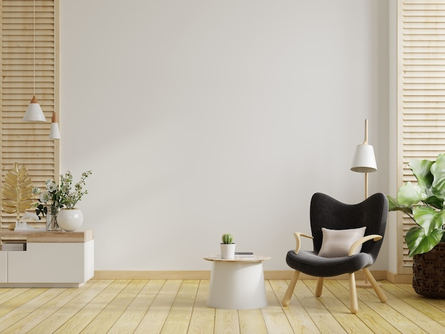Minimalist interior of living room with design armchair and table on white wall.3d rendering