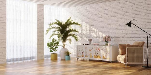 花が描かれたサイドボードと植物の3dレンダリングを備えたリビングルームのミニマリストインテリア