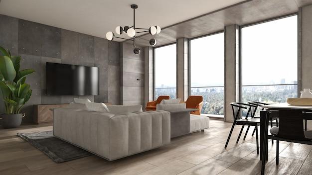 Минималистичный интерьер современной гостиной 3 d рендеринга