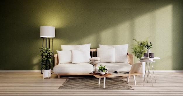 Minimalist interior ,sofa furniture and plants, modern green room design.3d rendering
