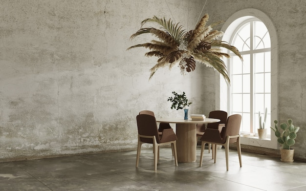 Minimalist interior with grungy walls arch windows and floral cloud over the table 3d render