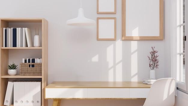 Минималистичный японский дизайн интерьера домашнего офиса с макетом для монтажа на деревянном столе 3d