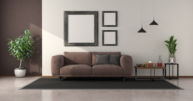 Minimalist living room with brown sofa and coffee table