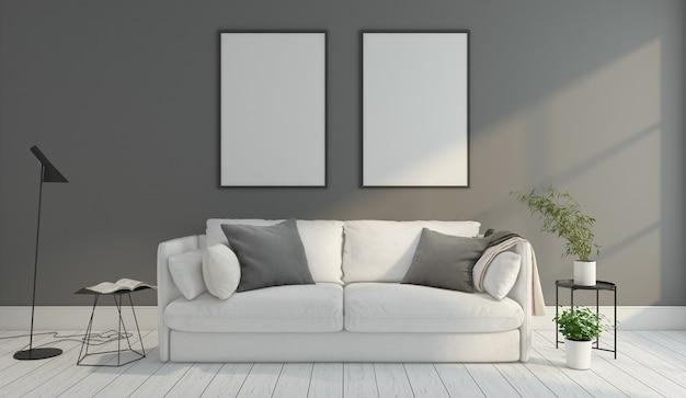 회색 벽과 흰색 나무 바닥 액자 3d 렌더링 미니멀 거실