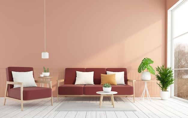 밝은 주황색 벽과 흰색 나무 바닥 3d 렌더린이 있는 미니멀한 거실