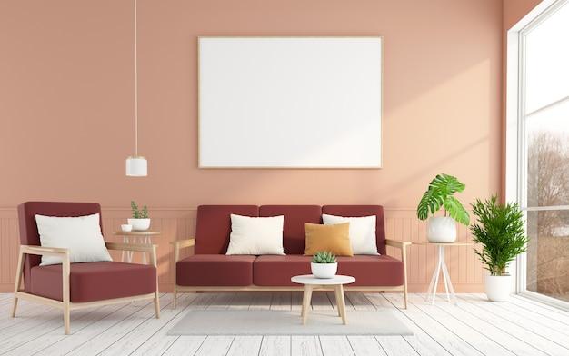 밝은 주황색 벽과 흰색 나무 바닥 3d 렌더링이 있는 미니멀한 거실