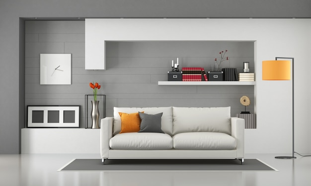 Minimalist living room with modern sofa and shelves. 3d rendering