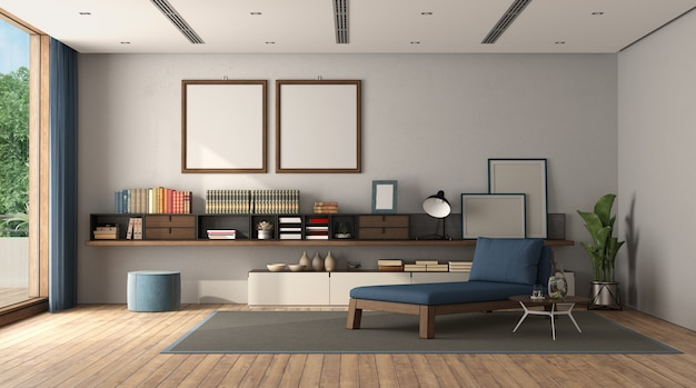 Minimalist living room with sideboard and chaise lounge