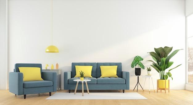 소파와 안락의자 흰색 벽과 나무 바닥 3d 렌더링이 있는 미니멀한 거실