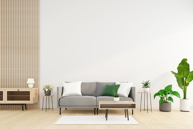소파와 커피 테이블, 흰색 벽, 녹색 식물이 있는 미니멀한 거실. 3d 렌더링