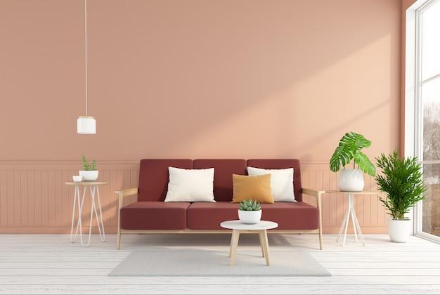 소파와 사이드 테이블, 밝은 오렌지색 벽, 흰색 나무 바닥이 있는 미니멀한 거실. 3d 렌더링