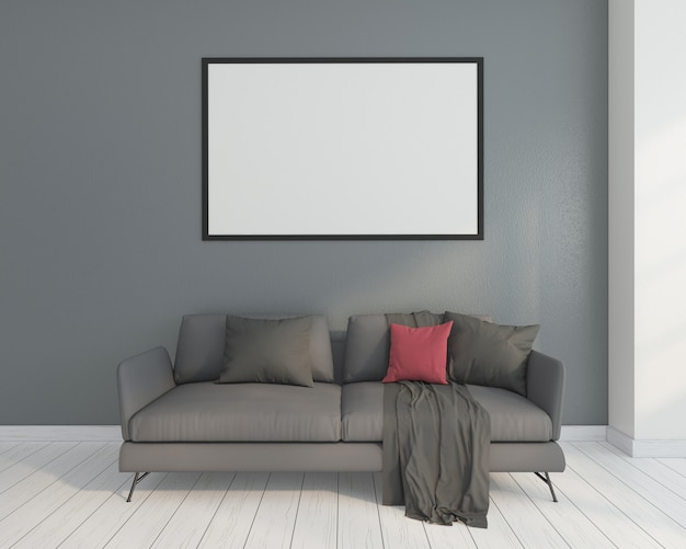 Minimalist living room with sofa and picture frame. 3d rendering
