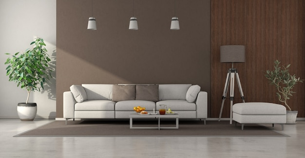 Minimalist living room with sofa and wooden panel. 3d rendering