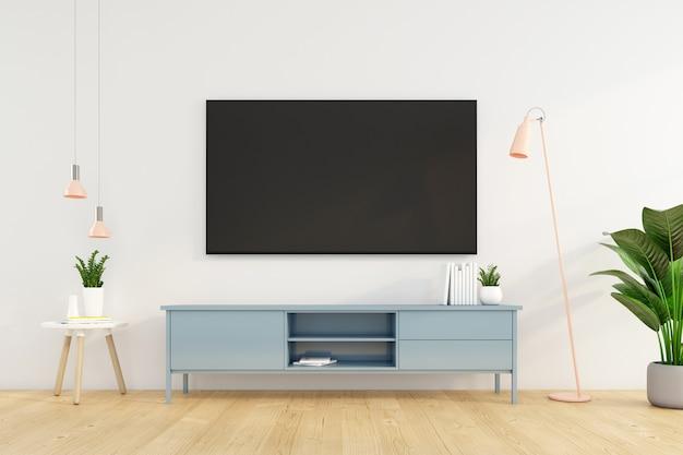 흰색 벽에 tv 캐비닛이 있는 미니멀한 거실. 3d 렌더링