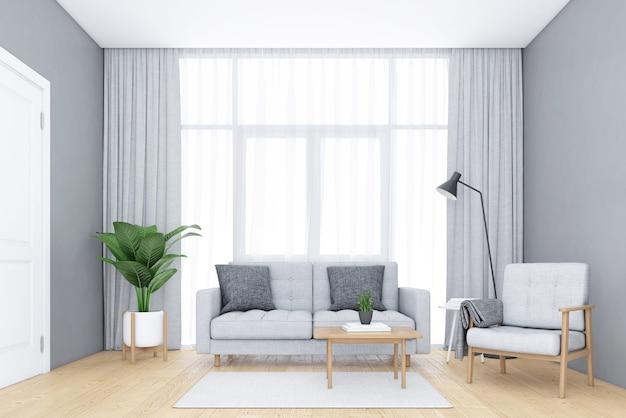窓と白いカーテンのあるミニマリストのリビングルームソファとアームチェアの3dレンダリング