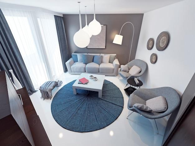 미니멀리스트 라운지 룸 트렌드 독창적 인 인테리어의 넓은 객실입니다. 부드러운 회색 가구. 흰색 콘크리트 바닥. 발코니로 연결되는 천장부터 바닥까지 내려 오는 창문.