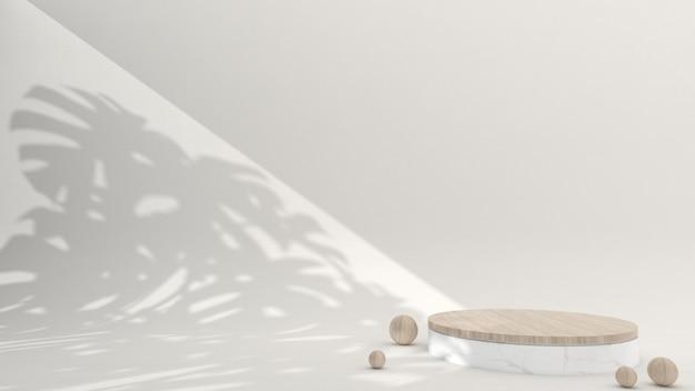 크림 배경의 미니멀한 대리석과 나무 연단, 3d 렌더링, 3d 그림