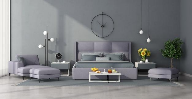 Минималистская спальня с сиреневой мебелью